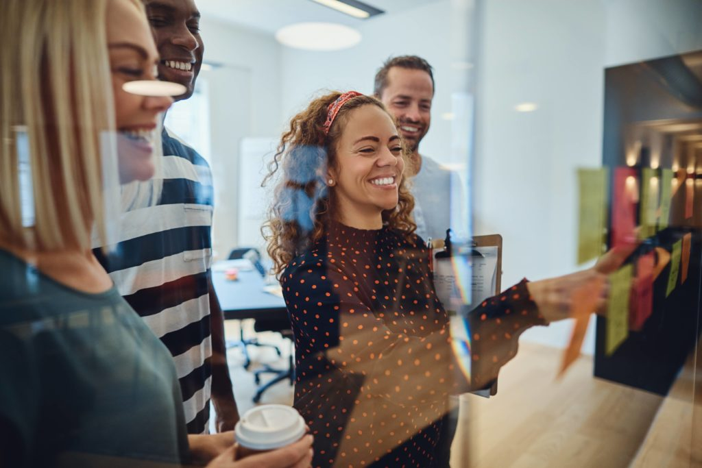 Employees building a successful talent management strategy