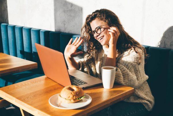Job candidate in remote interview online